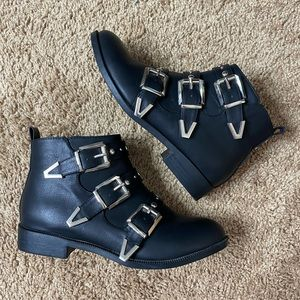 Boohoo Black Silver Buckle Faux Leather Booties